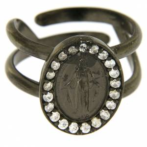 Prayer rings: Miraculous Medal ring in black 925 silver with transparent zircons