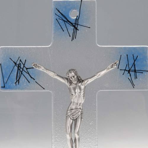 Modern crucifix in transparent glass with blue shades s2