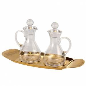 Metal cruets: Molina cruets set in glass with brass tray