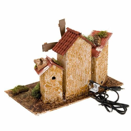 Molino de viento pesebre a corriente con 3 casas 31x17x24 s2