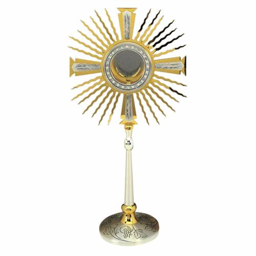 Monstrance gold and silver-plated brass, base decorated with gra s1