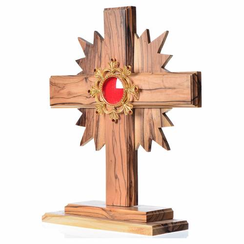 Monstrance H29cm in olive wood cross with rays, display in 800 s s2