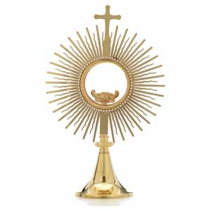 Monstrances, Chapel monstrances, Reliquaries in metal: Monstrance,sun shaped, height 34cm, 8cm display case
