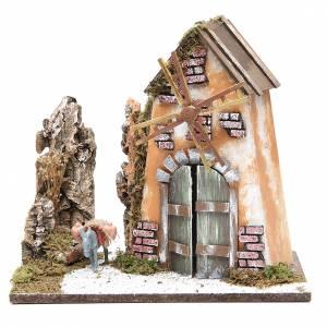 Moulins en miniature: Moulin à vent 30x33x18 cm avec âne pour crèche