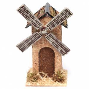 Moulins en miniature: Moulin à vent faux en liège crèche 12,5x7x7 cm