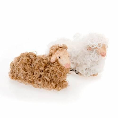 Mouton laine couché crèche 10 cm s1