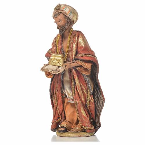 Mulatto Wise Man in terracotta, 13cm by Angela Tripi s2