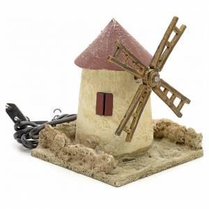 Mulini per Presepi: Mulino a vento in legno stuccato per presepe 15x14x14