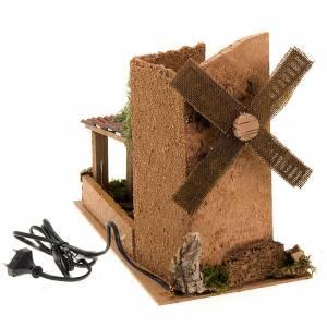 Mulini per Presepi: Mulino a vento per presepe a corrente con tettoia 31X17X14