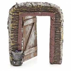 Muro con puerta para pesebre 15x13 cm s2