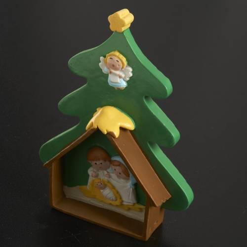 Natività su albero di Natale in resina dipinta s2