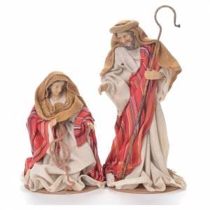 Nativité 26 cm en résine et tissu rouge beige s2