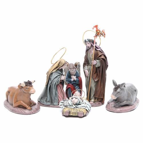 Nativité 6 santons en terre cuite et tissu 17 cm s1