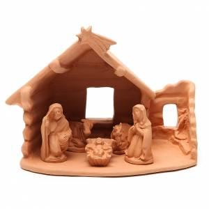 Nativité avec cabane terre cuite 20x22x16 cm s1