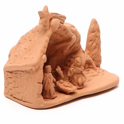 Nativité avec décor terre cuite 10x12x8 cm s3