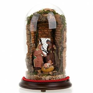 Nativité dans cloche en verre avec paysage, 26 cm s1