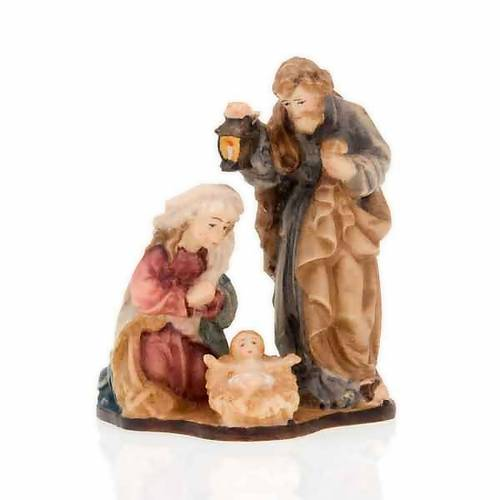 Nativité en bois peint à la main sur base s3