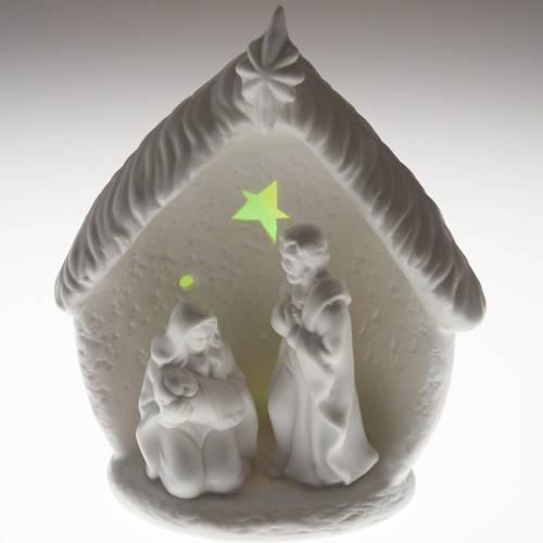 Nativité illuminée avec étable céramique s5