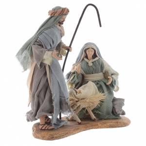 Nativité résine 33 cm sur base en bois s3