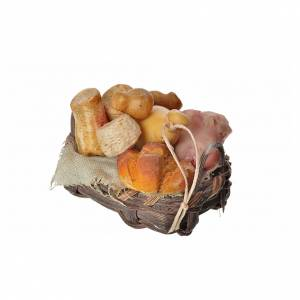 Nativity accessory, bread and cold meat basket in wax, 4.5x5.5x6 s3