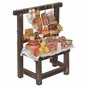 Nativity accessory, cured meat stall in wax 22x16.5x8cm s3