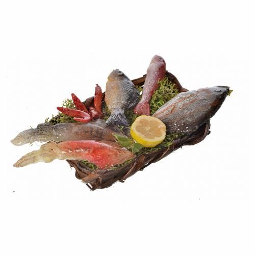 Nativity accessory, fish basket in wax, 10x7x8cm s3