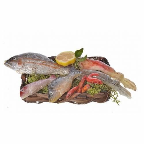 Nativity accessory, fish basket in wax, 10x7x8cm s1