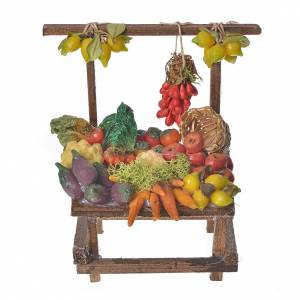 Nativity accessory, greengrocer's stall in wax 10x9x14cm s1