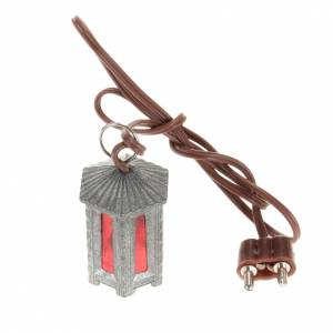 Nativity lights and lamps: Nativity accessory, metal hexagonal lamp with red light, 3.5cm