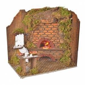 Fireplaces and ovens: Nativity accessory, oven flame effect 20x14cm with pizzas