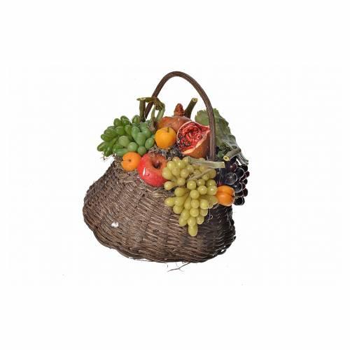Nativity accessory, persimmon basket in wax, 10x7x8cm s1