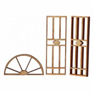 Balustrade, doors, railings: Nativity accessory, wooden gate, 3 pieces, 7x3.5cm