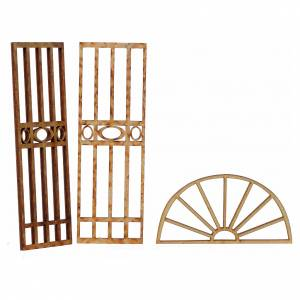 Balustrade, doors, railings: Nativity accessory, wooden gate, 3pcs, 15x7.5cm