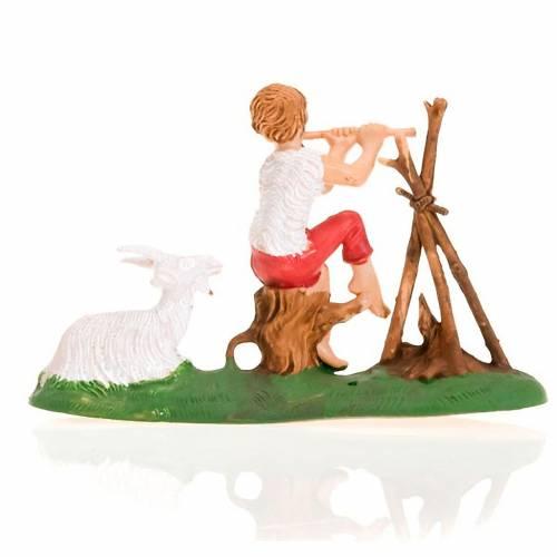 Nativity figurine, fifer boy with fire and goat 8cm 2