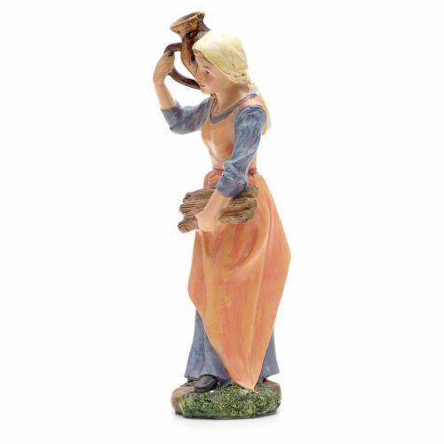 Nativity figurine, girl with amphora and wood 21cm s2