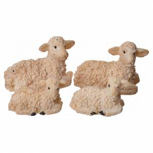 Animals for Nativity Scene: Nativity figurine, resin sheep, 4 pieces 8cm