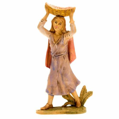 Nativity figurine Young shepherdess with basket on her head 18cm s1