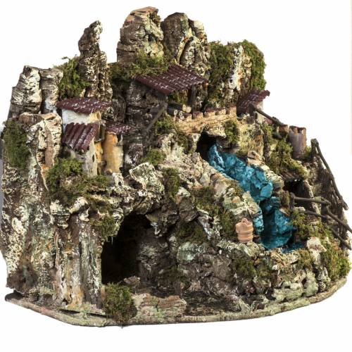 Nativity grotto with waterfall, fire, houses and lights s6