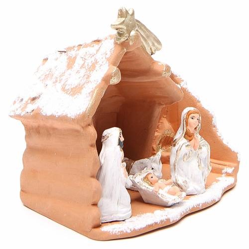 Nativity in painted terracotta and snow 15x16x9cm s3
