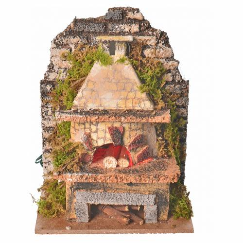 Nativity oven with flickering LED light, assorted 10x6cm s1