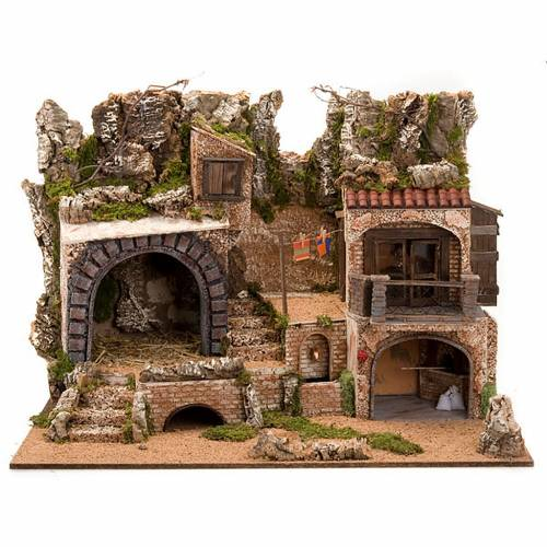 Nativity scene accessory, cave with water fountain, 80x70x60 cm s1