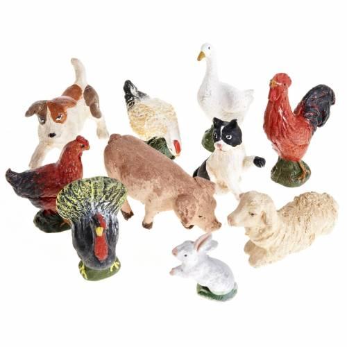 Nativity scene accessory courtyard animals 10 pcs 10cm s1