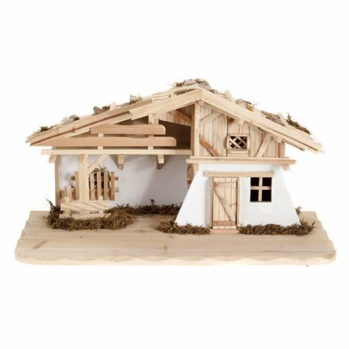 Nativity scene accessory, hut, natural wood, 60x30x30 cm s1