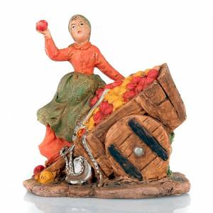 Nativity scene, apple seller figurine with cart s6
