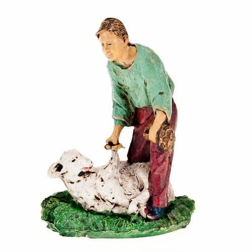 Nativity scene figurine, sheep shearer with sheep 10cm s1