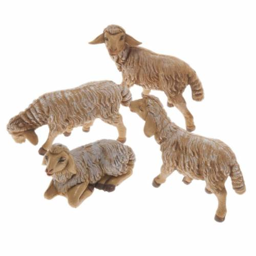 Nativity scene figurines, brown plastic sheep, 4 pieces 12cm s1