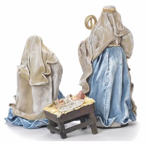 Nativity scene in resin, 25cm blue and green s3