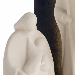 Stylized Nativity scene: Nativity scene Noel model in white clay and gold natural wood,28