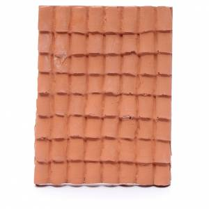 Home accessories miniatures: nativity scene resin roof with terracotta decorated shingles 10x5 cm