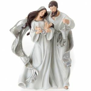 Nativity scene set silvery figurines 41 cm tall s1